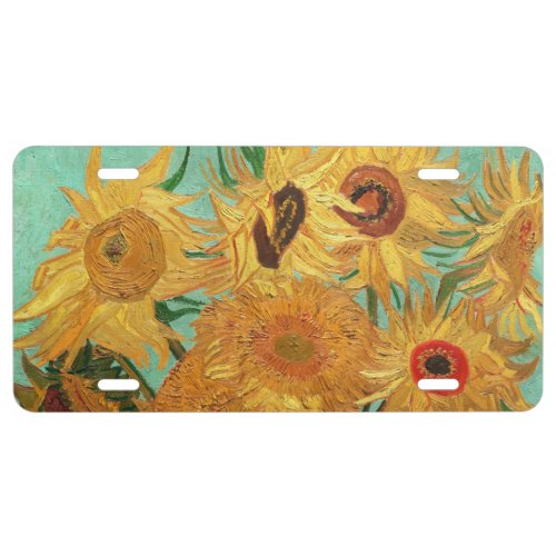 Vincent Van Gogh Twelve Sunflowers In A Vase License Plate