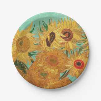 Vincent Van Gogh Twelve Sunflowers In A Vase Paper Plate