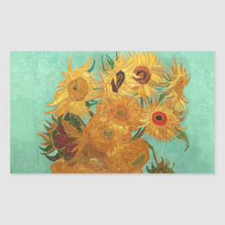 Vincent Van Gogh Twelve Sunflowers In A Vase Rectangular Sticker