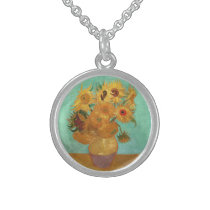 Vincent Van Gogh Twelve Sunflowers In A Vase Sterling Silver Necklace