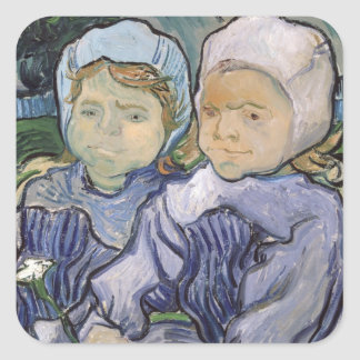 Vincent van Gogh | Two Little Girls, 1890 Square Sticker