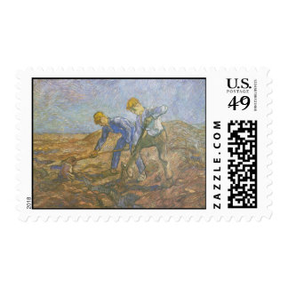 Vincent Van Gogh - Two Peasants Digging Postage