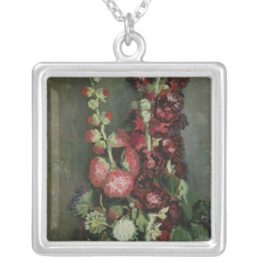Vincent van Gogh | Vase of Hollyhocks, 1886 Silver Plated Necklace