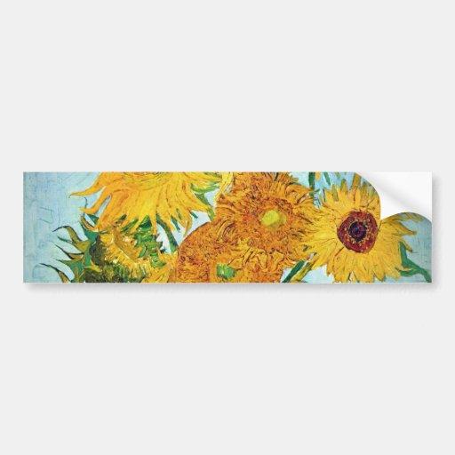 Vincent van Gogh - Vase with 12 Sunflowers Bumper Sticker