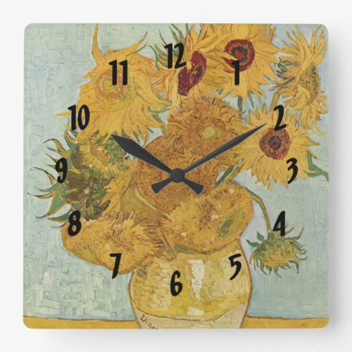 Vincent Van Gogh Vase With 12 Sunflowers Square Wall Clock