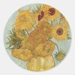 Vincent Van Gogh Vase With 12 Sunflowers Round Sticker