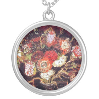 Vincent Van Gogh - Vase With Asters And Phlox Silver Plated Necklace