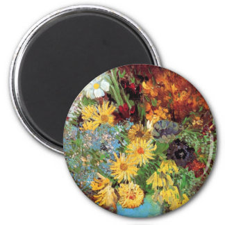 Vincent Van Gogh - Vase With Daisies And Anemones 2 Inch Round Magnet