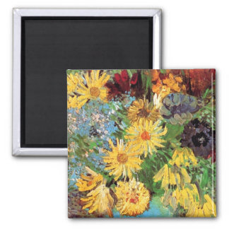 Vincent Van Gogh - Vase With Daisies And Anemones 2 Inch Square Magnet