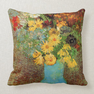 Vincent van Gogh-Vase with Daisies and Anemones Throw Pillow