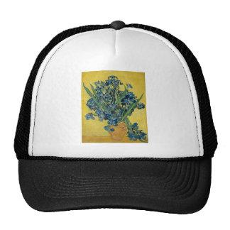 Vincent Van Gogh Vase With Irises Vintage Art 1890 Mesh Hats