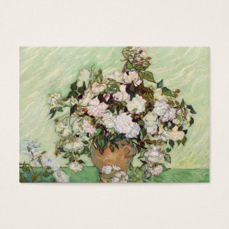 Vincent Van Gogh Vase With Pink Roses Floral Art Business Card