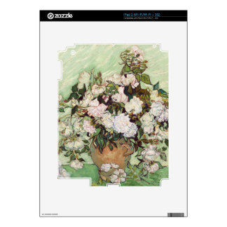 Vincent Van Gogh Vase With Pink Roses Floral Art Decals For iPad 2