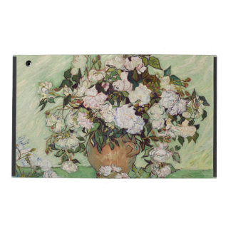 Vincent Van Gogh Vase With Pink Roses Floral Art iPad Folio Case