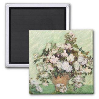 Vincent Van Gogh Vase With Pink Roses Floral Art Magnet