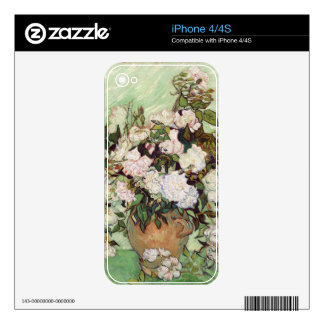 Vincent Van Gogh Vase With Pink Roses Floral Art Skin For The iPhone 4