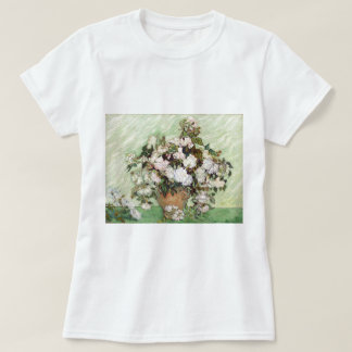 Vincent Van Gogh Vase With Pink Roses Floral Art T-Shirt
