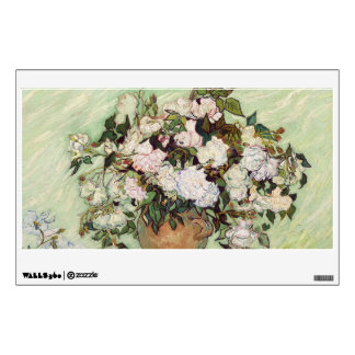 Vincent Van Gogh Vase With Pink Roses Floral Art Wall Decal