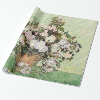 Vincent Van Gogh Vase With Pink Roses Floral Art Wrapping Paper