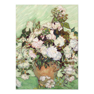"Vincent Van Gogh Vase With Pink Roses 5.5"" X 7.5"" Invitation Card"
