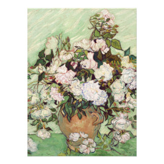 Vincent Van Gogh Vase With Pink Roses Invitations