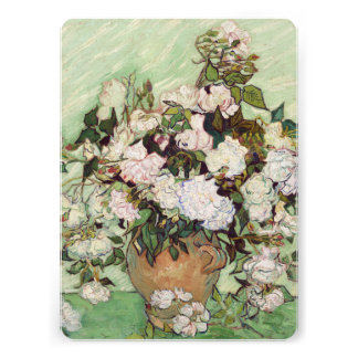 Vincent Van Gogh Vase With Pink Roses Invite