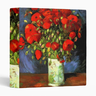 Vincent Van Gogh Vase With Red Poppies Floral Art Binder