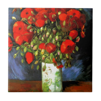 Vincent Van Gogh Vase With Red Poppies Floral Art Ceramic Tile
