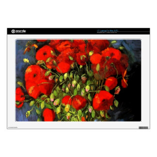Vincent Van Gogh Vase With Red Poppies Floral Art Decals For Laptops