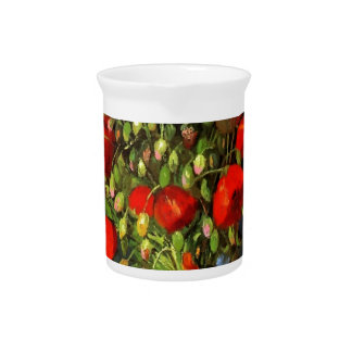 Vincent Van Gogh Vase With Red Poppies Floral Art Drink Pitcher
