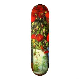 Vincent Van Gogh Vase With Red Poppies Floral Art Skateboard