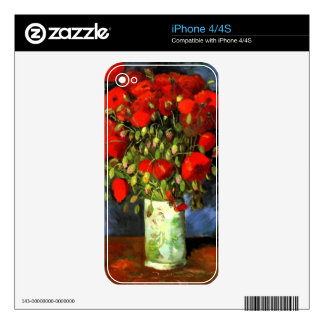 Vincent Van Gogh Vase With Red Poppies Floral Art Skin For The iPhone 4