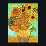 "Vincent Van Gogh - Vase With Twelve Sunflowers Canvas Print<br><div class=""desc"">Oil on canvas from 1889 shows a vase full of bright sunflowers against a green background. Unlike similar stores, Art Lover&#39;s Cafe features classic, high resolution works of art that have been carefully restored, color-balanced &amp; retouched to remove spots &amp; artifacts commonly found in most reproductions sold online. Compare the...</div>"