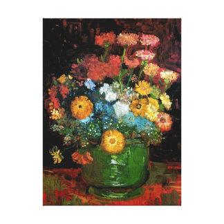 Vincent Van Gogh - Vase With Zinnias Fine Art Canvas Print