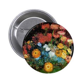 Vincent Van Gogh - Vase With Zinnias Fine Art Pinback Button