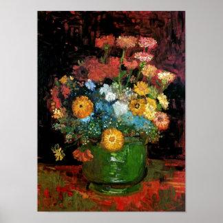 Vincent Van Gogh - Vase With Zinnias Fine Art Poster