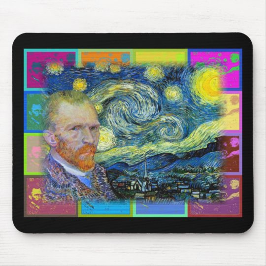 """Vincent Van Gogh Visits his """"Starry Night"""" Mouse Pad"""