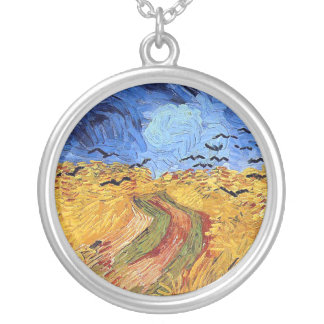 Vincent Van Gogh - Wheat Field with Black Crows Silver Plated Necklace