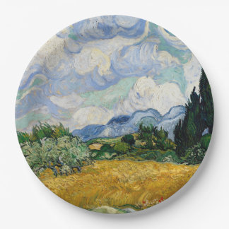 Vincent Van Gogh Wheat Field With Cypresses 9 Inch Paper Plate