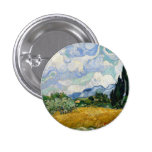Vincent Van Gogh Wheat Field With Cypresses 1 Inch Round Button