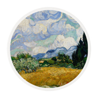 Vincent Van Gogh Wheat Field With Cypresses Edible Frosting Rounds