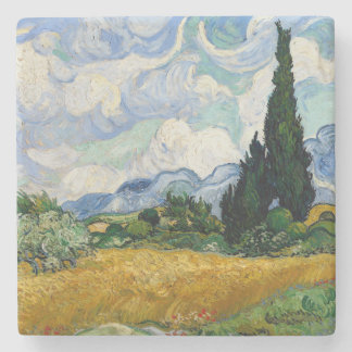 Vincent Van Gogh Wheat Field With Cypresses Stone Coaster