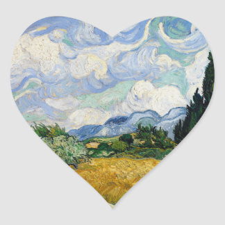 Vincent Van Gogh Wheat Field With Cypresses Heart Sticker