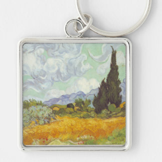 Vincent Van Gogh -  Wheat Field with Cypresses Keychain