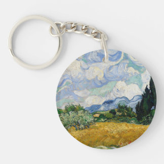 Vincent Van Gogh Wheat Field With Cypresses Keychain
