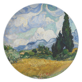 Vincent Van Gogh Wheat Field With Cypresses Melamine Plate