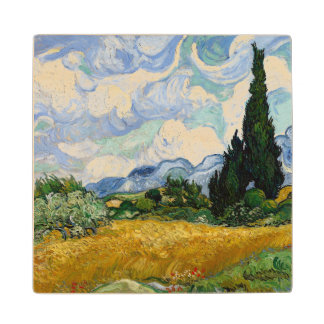 Vincent Van Gogh Wheat Field With Cypresses Maple Wood Coaster