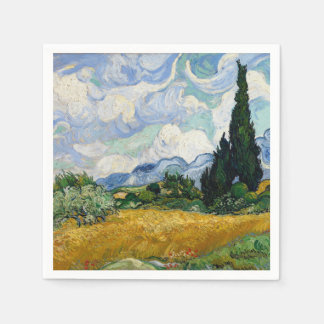 Vincent Van Gogh Wheat Field With Cypresses Napkin