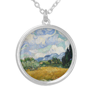 Vincent Van Gogh Wheat Field With Cypresses Necklaces