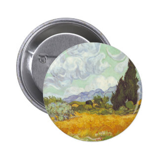 Vincent Van Gogh -  Wheat Field with Cypresses Pinback Button